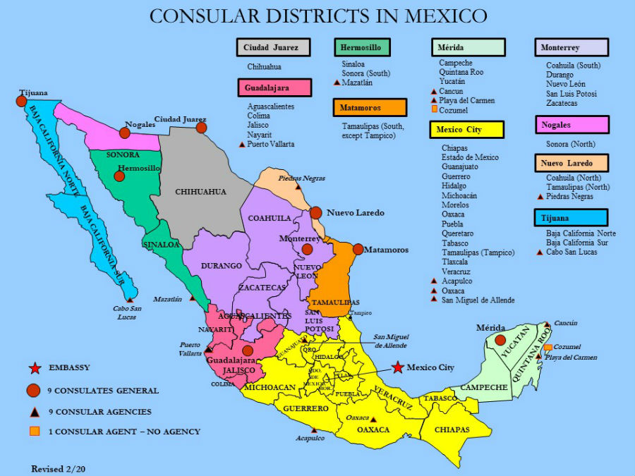 Consular Districts In Mexico Map