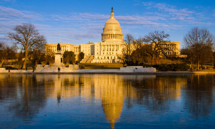 A reflection in the lake of the Capitol building
