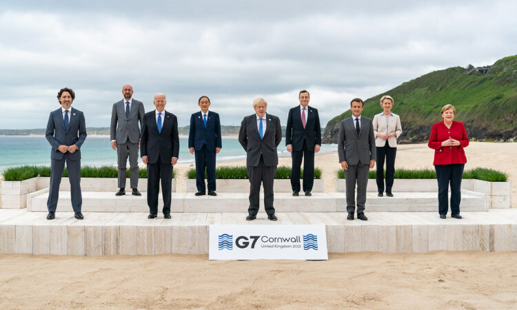 G7 heads of states on Cornwall beach