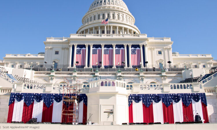 The West Front of the Capitol in Washington is dressed in red, white and blue with two days to go before the 57th Presidential Inauguration and President Obama's second inauguration, Saturday, Jan. 19, 2013. (© J. Scott Applewhite/AP Images)