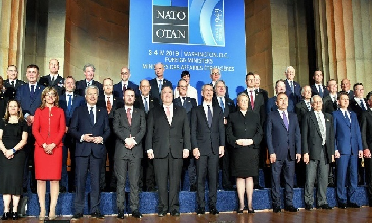Date: 04/03/2019 Description: U.S. Secretary of State Michael R. Pompeo poses for a family photo with NATO Secretary General Jens Stoltenberg and fellow foreign ministers at the Reception to celebrate NATO's 70th Anniversary at the Andrew W. Mellon Auditorium in Washington, DC, on April 3, 2019. - S