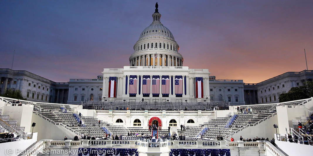 Dawn breaks behind the Capitol Dome as last minute preparations continue for swearing in of Donald Trump as the 45th President of the United States during the 58th Presidential Inauguration at the U.S. Capitol in Washington. Friday, Jan. 20, 2017 (AP Photo/Patrick Semansky)