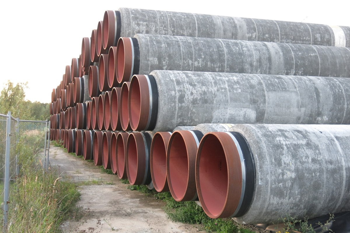 Stack of pipes/tubes for natural gas pipeline North Stream 2 at Mukran port, September 2020