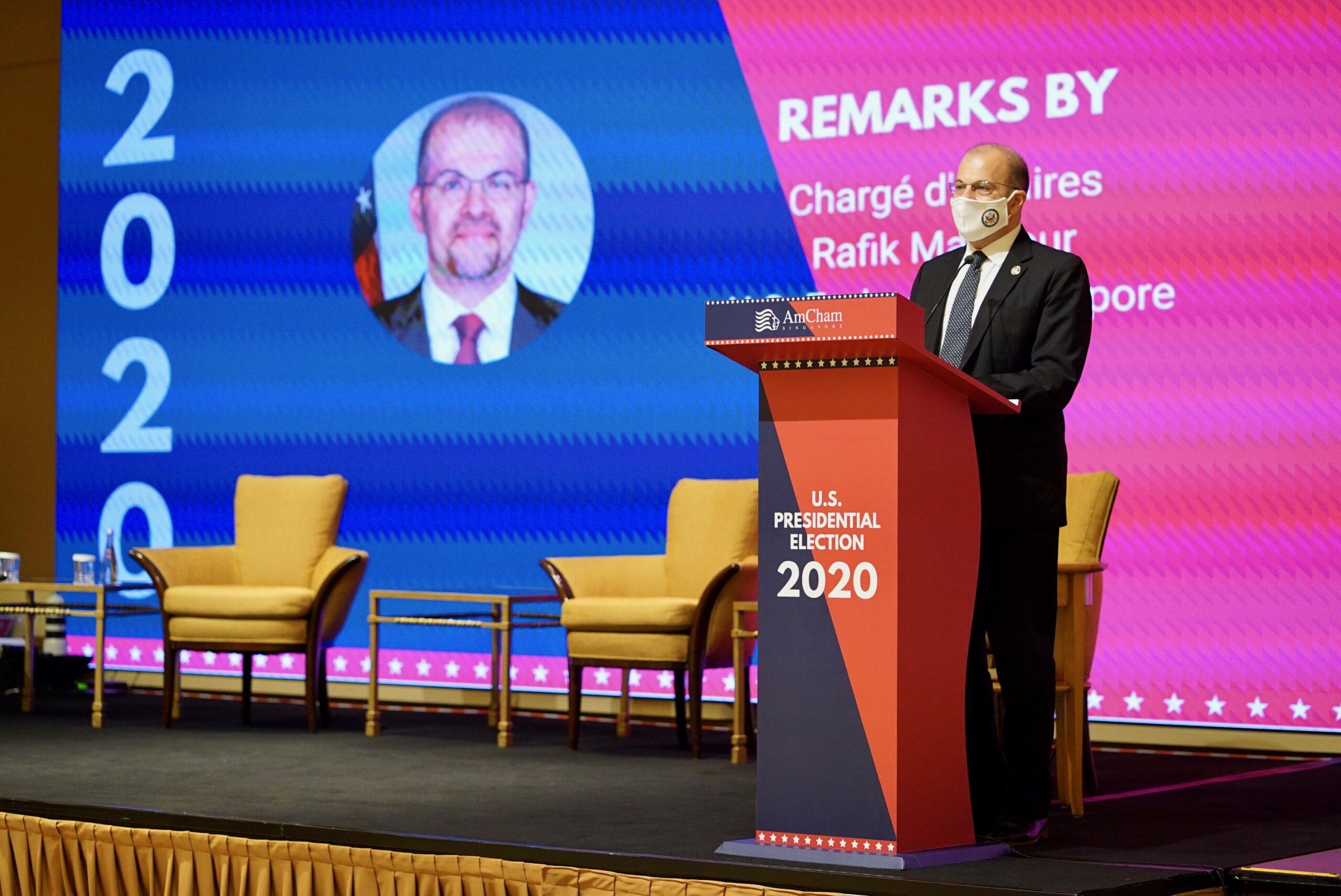 Chargé d'Affaires Mansour at AmCham Singapore's U.S. Presidential Election 2020 event