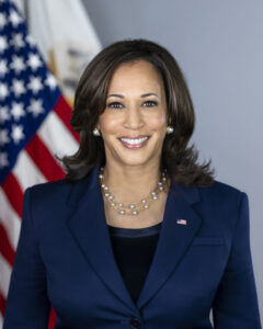 Vice President Kamala Harris takes her official portrait Thursday, March 4, 2021, in the South Court Auditorium in the Eisenhower Executive Office Building at the White House. (Official White House Photo by Lawrence Jackson)