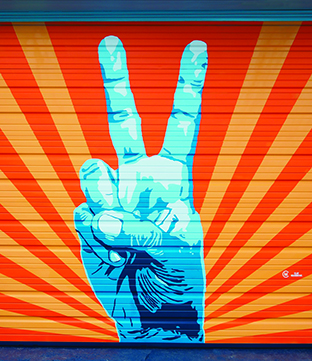peace sign mural