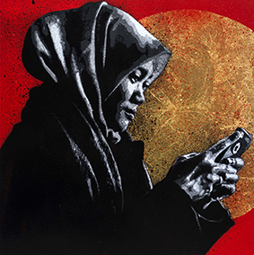 Lady looking at her phone
