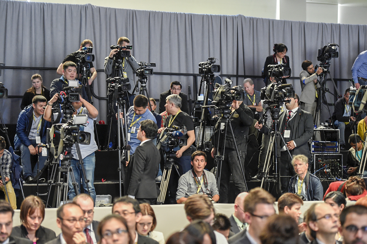 Members of the press prepare for a briefing from President Barack Obama at the conclusion of the Nuclear Security Summit in Washington, D.C. on April 1, 2016 [Ben Solomon/U.S. Department of State]