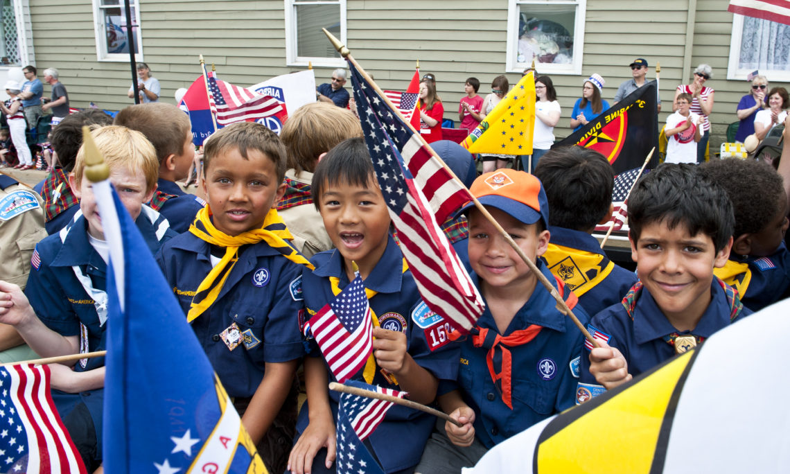 Boyscouts holding Flags