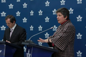 DHS Secretary Janet Napolitano and IATA Director General and CEO Giovanni Bisignani at a January 22, 2010 Press Conference at IATA's Offices in Geneva