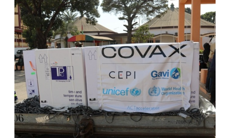 Covax banner in Guinea