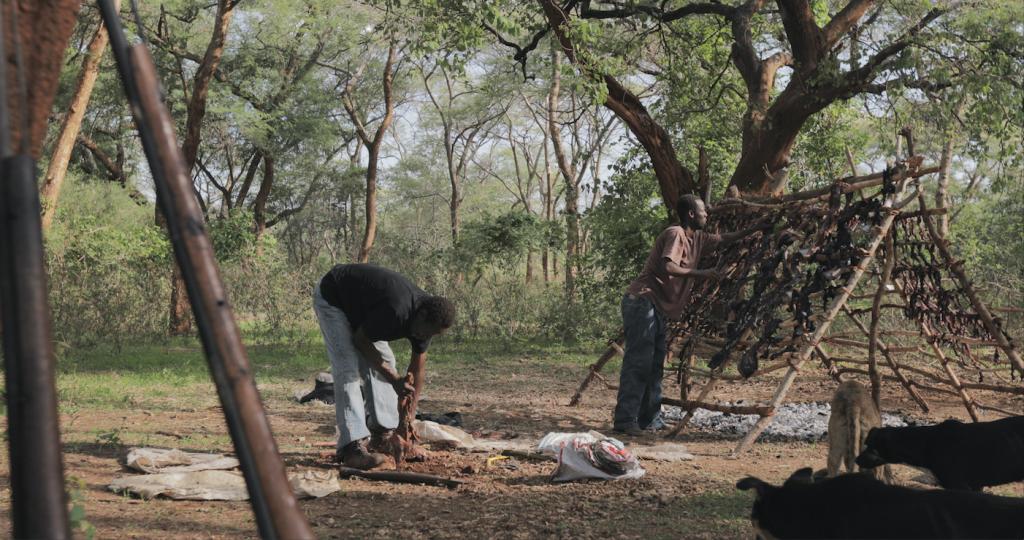 Men drying illegal bushmeat on makeshift outdoor rack