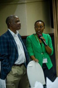Constance introduces a speaker at the Africa Agribusiness Academy Malawi stakeholder meeting. (Courtesy of Constance Munyenyembe)