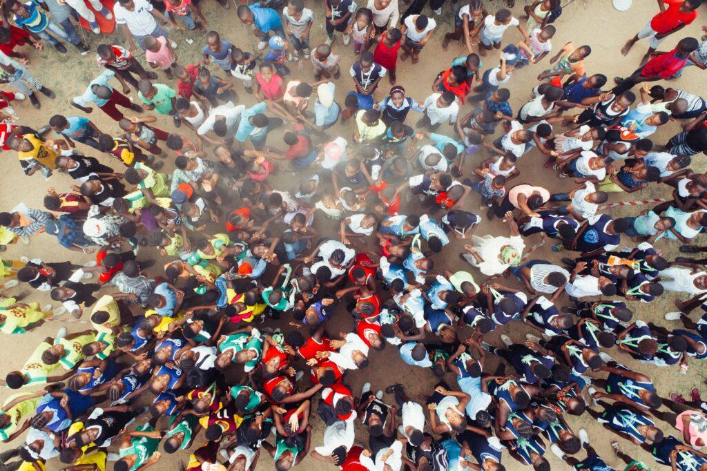a crowd of children