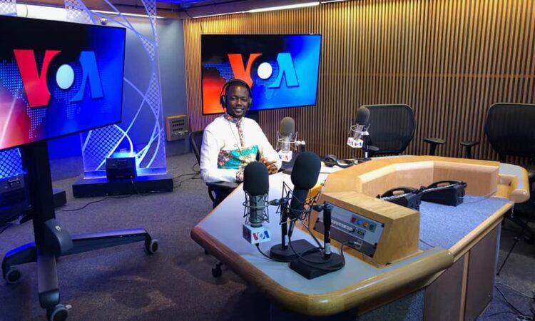 Djonabaye at the Voice of America studios in 2019