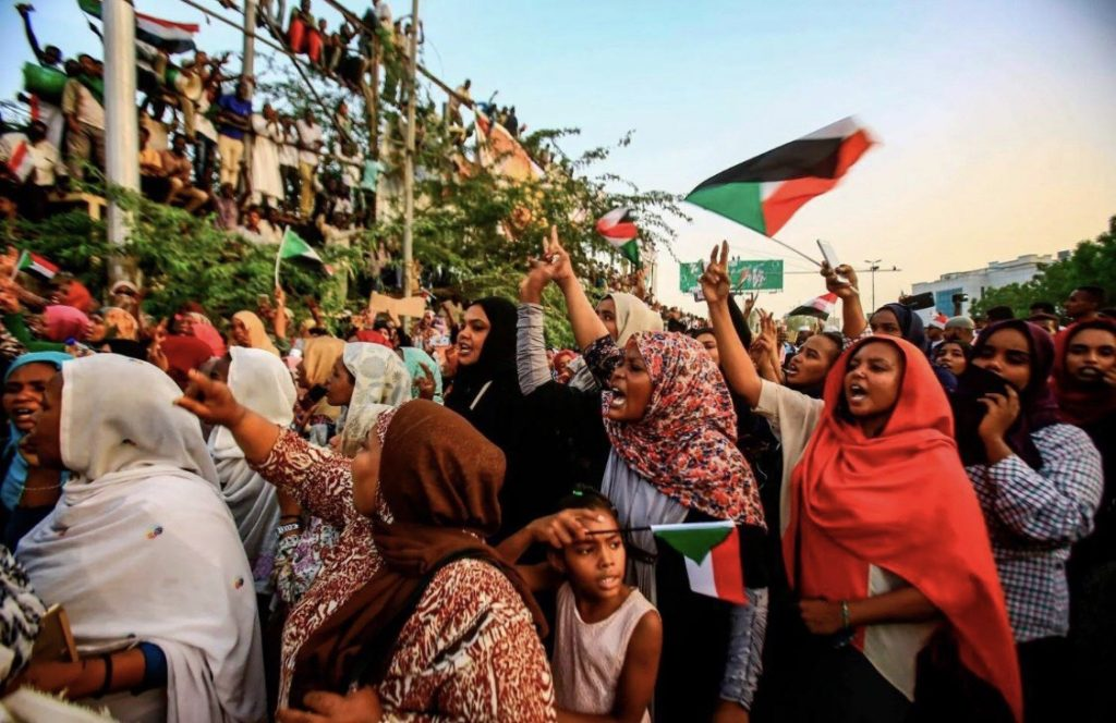 Women protesting during the 2018-2019 uprising in Sudan