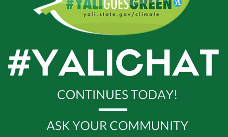 Graphic promotes online event, starting: YALICHAT continues today! Ask your community organizing questions.