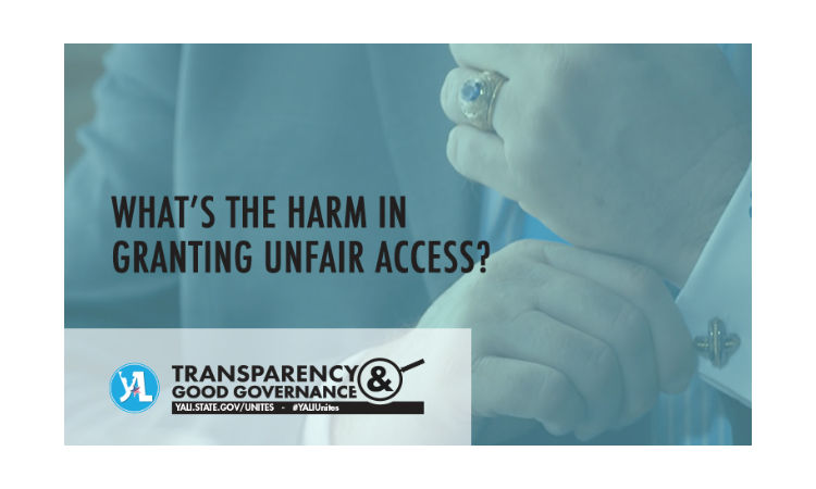 """Man fixing cufflinks with text reading """"What's the harm in granting unfair access?"""""""