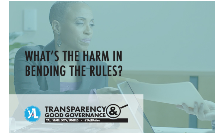 """Business woman at conference table with text reading, """"What's the harm in bending the rules?"""""""