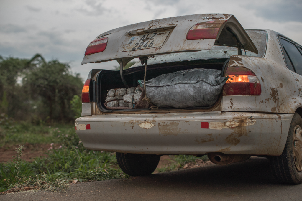 Car with open trunk showing packages full of illegal bushmeat