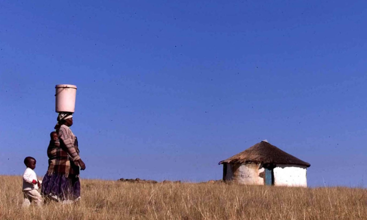 Woman walks with child through a field.