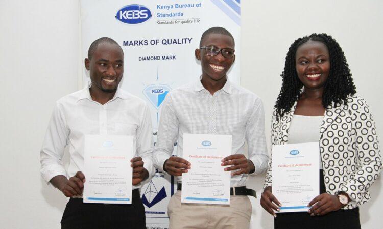 Khajira and his fellow Kenya Bureau of Standards Award winners