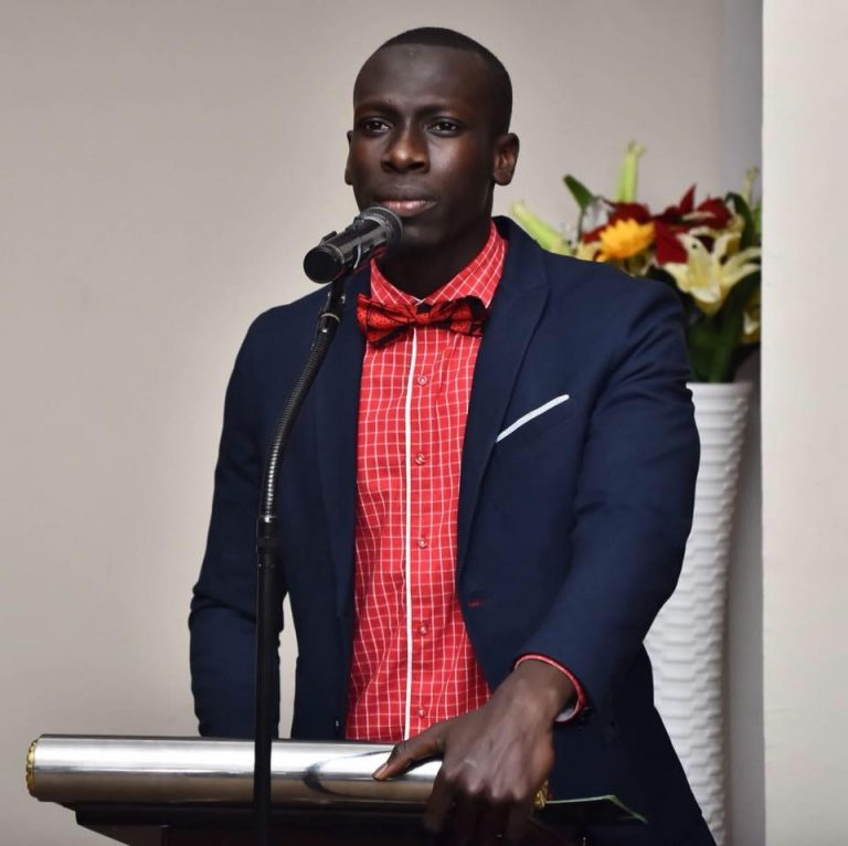 Ebrima chairing local government debates in The Gambia in 2017