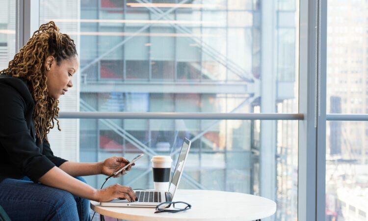 Woman on a laptop