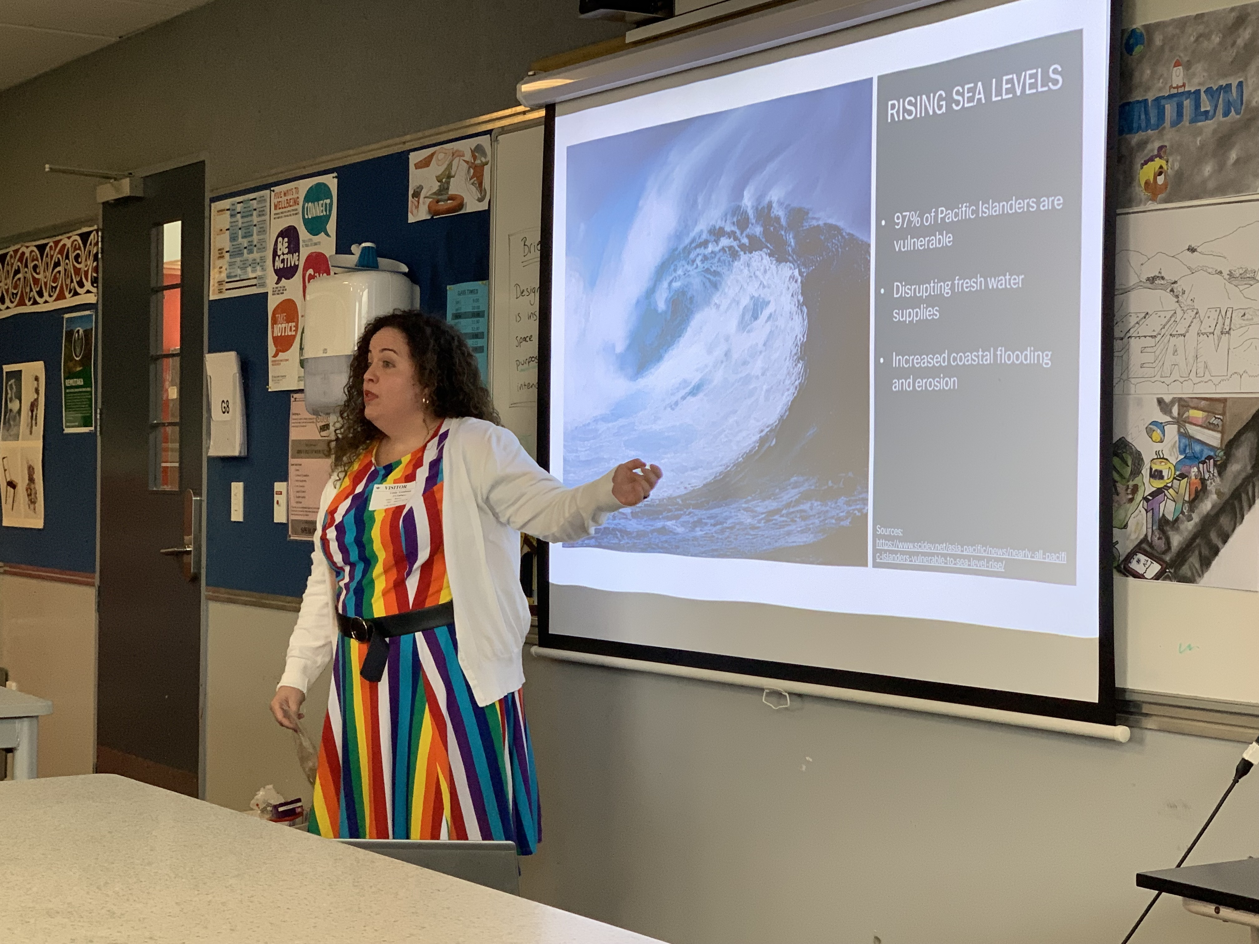 Public Affairs Officer, Leslie Goodman, speaking to a grup of students at Lower Hutt High School. Photo credit: U.S. Department of State.
