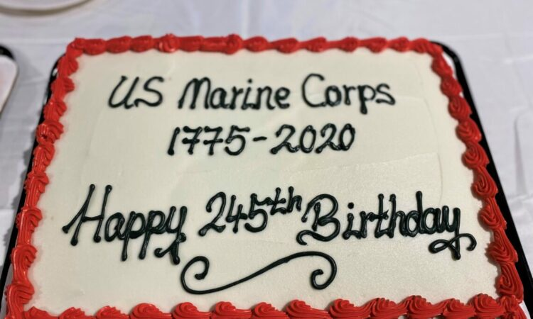 """Cake that is decorated with words reading, """"US Marine Corps 1775-2020 Happy 245th Birthday"""""""