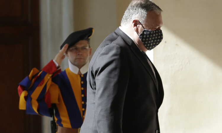 U.S. Secretary of State Mike Pompeo arrives at the San Damaso courtyard to meet Vatican Secretary of State Cardinal Pietro Parolin, at the Vatican, Thursday, Oct. 1, 2020. Photo: The Associated Press (AP Photo/Andrew Medichini)