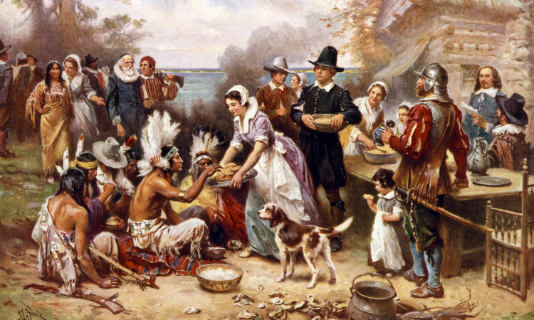 First Thanksgiving Dinner between Pilgrims and Native Tribes