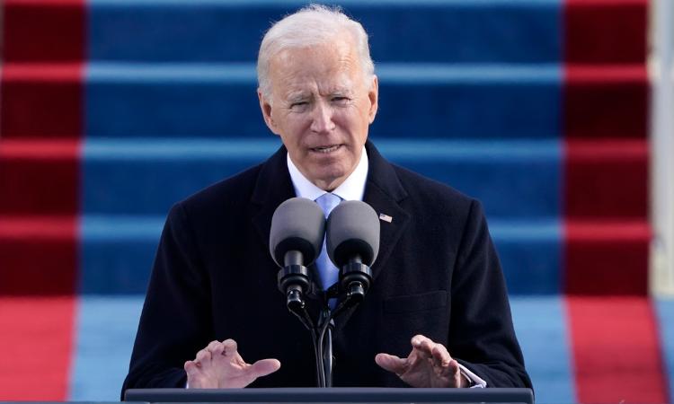 President Biden giving his Inaugural Address