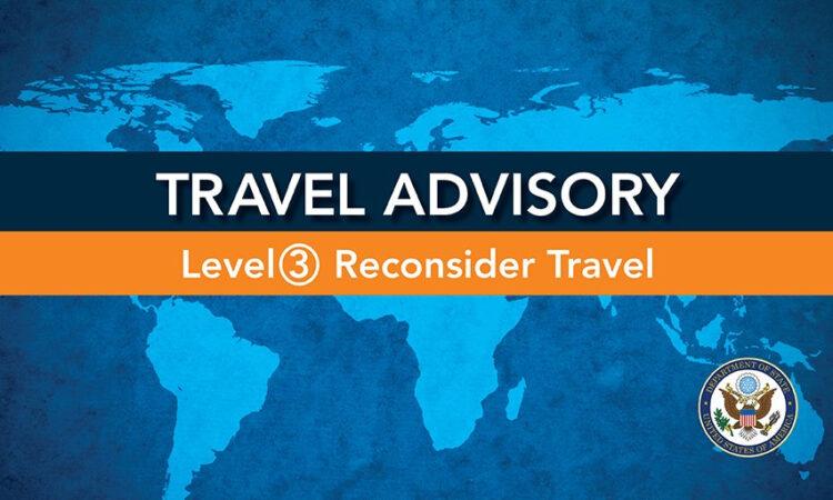 Travel Advisory with orange level 3 banner on world map